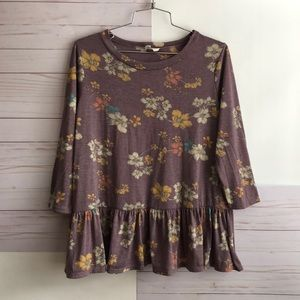 Tops - Purple and floral print long sleeve blouse